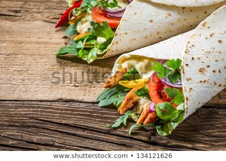 Stockfoto: Sandwich · groenten · vruchten · achtergrond · lunch