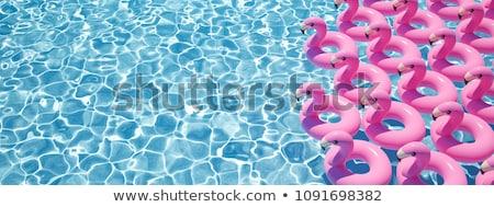 Joyful couple swimming together on floatie in pool Stock photo © dash