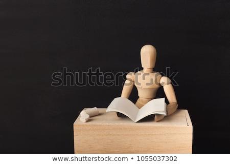 Houten etalagepop schoolbord geïsoleerd witte textuur Stockfoto © pakete