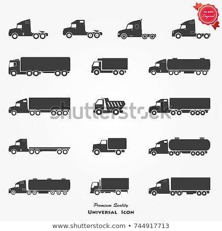 Preto silhuetas caminhão ícones isolado Foto stock © Genestro