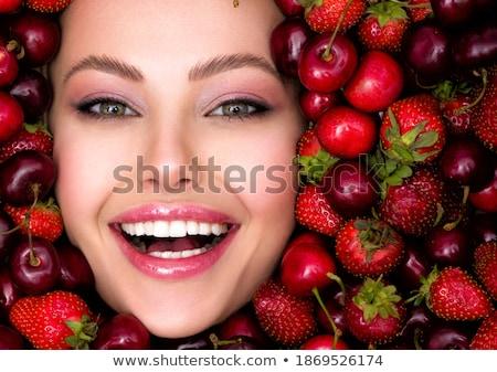 Rosso succosa labbra bianco bella femminile Foto d'archivio © MaryValery