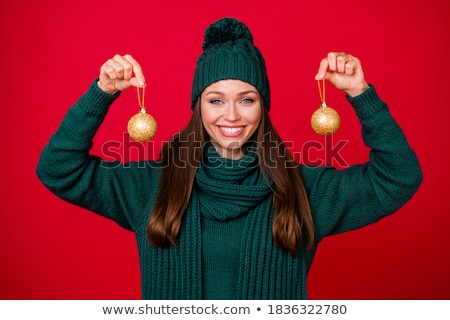 Christmas Golden Ball Close Up over Red  Stock photo © dariazu