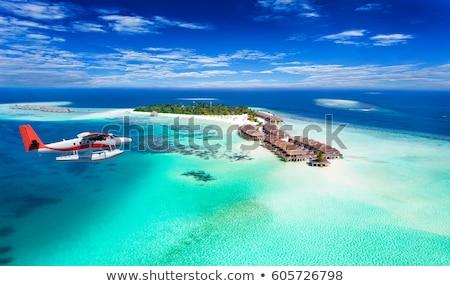Stockfoto: Maldiven · eiland · vliegtuig · mooie · prachtig