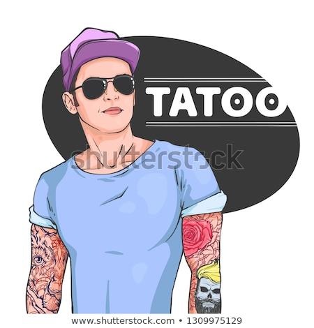 Сток-фото: татуировка · чернила · цвета · стороны · художник · синий