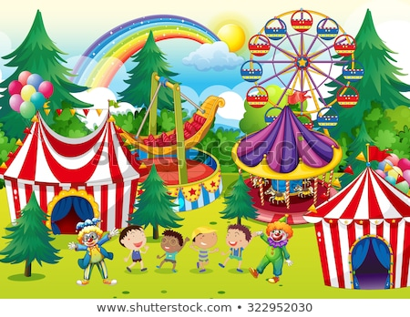 Circus scene with children and rides Stock photo © bluering