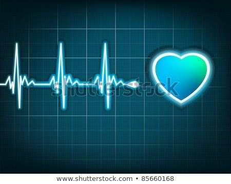 kék · szívdobbanás · fehér · vonalak · háttér · művészet - stock fotó © beholdereye