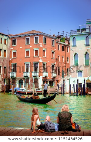 Gondel Venetië schemering illustratie hemel water Stockfoto © penivajz