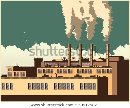 Stylized factory in retro style Stock photo © tracer
