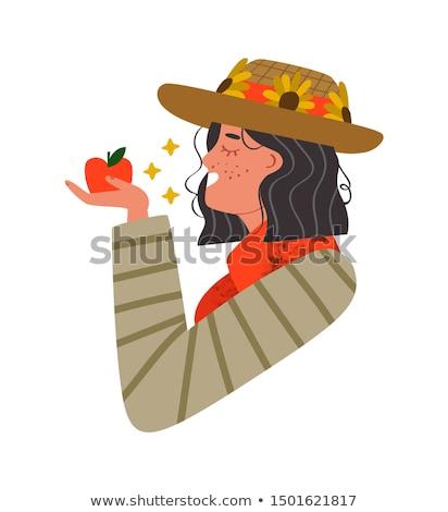 женщину · здорового · яблоко · диета · красивой - Сток-фото © rastudio