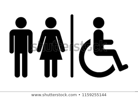 Schwarz WC Symbol isoliert weiß Mädchen Stock foto © Ecelop