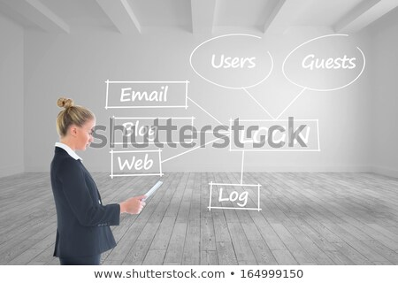 Digital composite image of businesswomen using tablet PC with blog graphics Stock photo © wavebreak_media