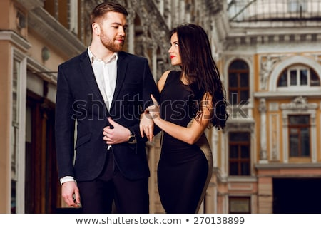 élégante · couple · marche · promenade · fille - photo stock © majdansky