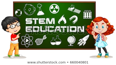 Two kids with stem education on board Stock photo © bluering