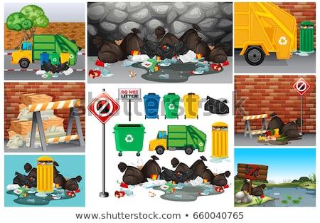 Сток-фото: грязные · мусор · дороги · иллюстрация · улице · фон