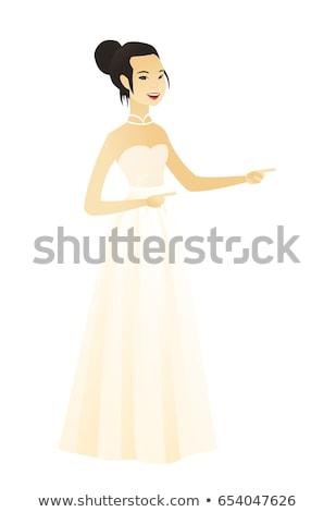 Asian verloofde wijzend kant witte jurk jonge Stockfoto © RAStudio