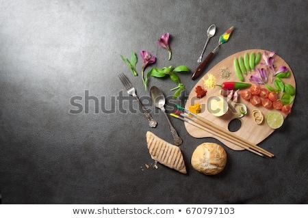 Voedsel palet kleurrijk kruiden specerijen Stockfoto © unikpix