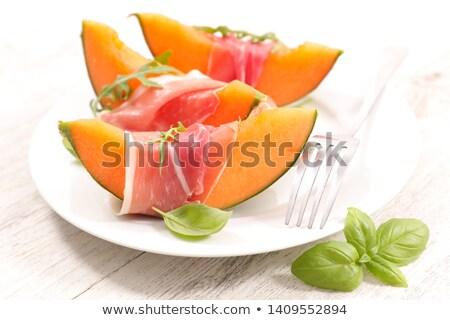 Főfogás dinnye prosciutto étel eszik ebéd Stock fotó © M-studio