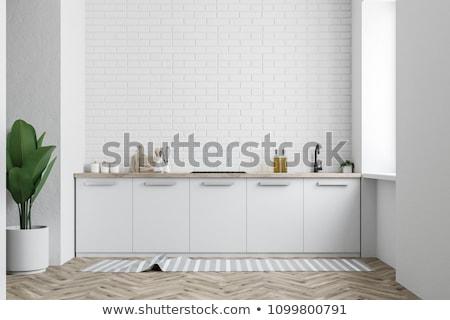 fehér · elegáns · designer · szék · fal · üres · szoba - stock fotó © manera