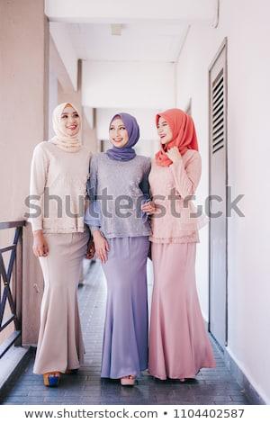 красивой мусульманских моде девушки женщины счастливым Сток-фото © zurijeta