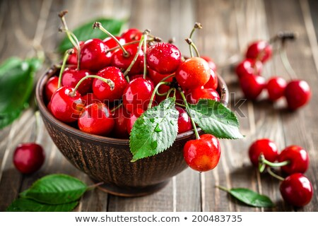Stock photo: Wet sweet cherry
