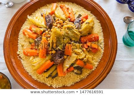 Foto stock: Couscous · fundo · cozinha · tabela · trigo · branco