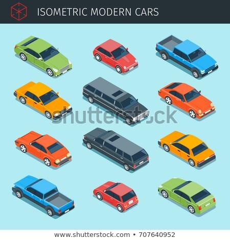 изометрический автомобилей красный 3D вектора транспорт Сток-фото © Genestro