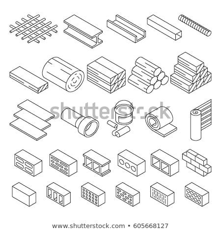 Establecer diferente edificio materiales 3D aislado Foto stock © kup1984