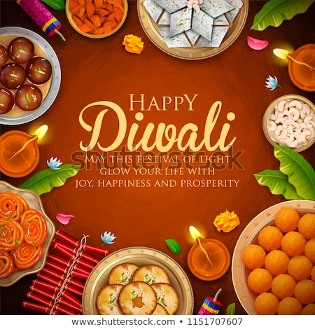 happy diwali design background with sparkles and diya stock photo © sarts