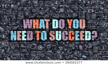 Multicolor What Do You Need to Succeed on Dark Brickwall. Doodl Stock photo © tashatuvango