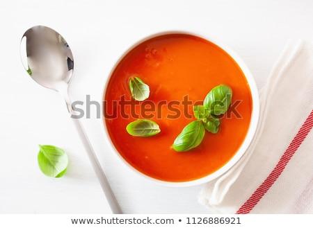 Fresco sopa de tomate manjericão folhas quente imagem Foto stock © StephanieFrey