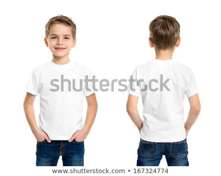 aranyos · boldog · kicsi · fiú · fehér · póló - stock fotó © Traimak