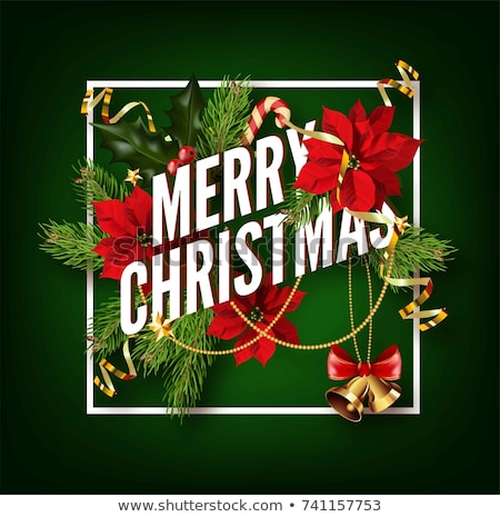 vector merry christmas party poster design template with holiday typography elements and shiny light stock photo © articular
