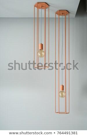 Hanging metal orange edison lamp Stock photo © bezikus