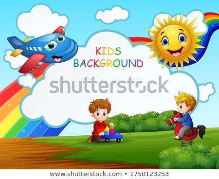 iki · mutlu · atlama · kitaplar · okul - stok fotoğraf © bluering