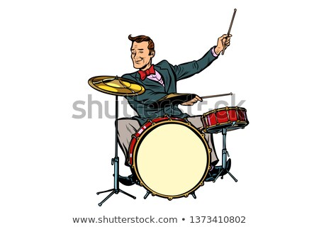 Retro trommelaar achter uitrusting geïsoleerd witte Stockfoto © studiostoks