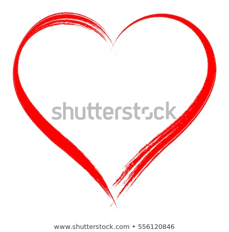 Vector Heart shape frame with brush painting isolated on white background stock photo © myfh88