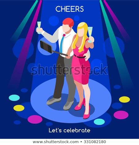festa · de · aniversário · mulher · champanhe · festa · feliz - foto stock © texelart