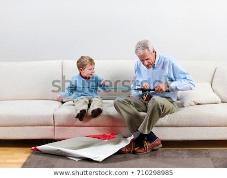Chłopca dziadek nowego wędka dziecko dar Zdjęcia stock © IS2