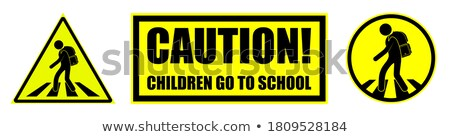 Boy by danger sign Stock photo © IS2