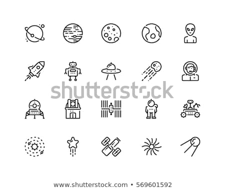 set space icons spacecraft and rocket ufo satellite and earth stock photo © popaukropa