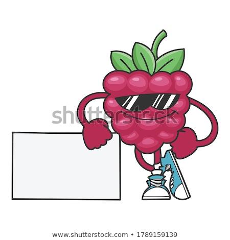 Souriant framboise fruits mascotte dessinée personnage lunettes de soleil Photo stock © hittoon