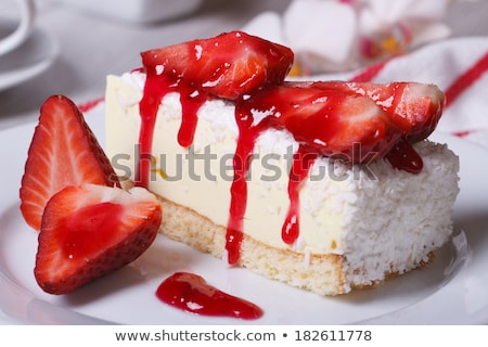 Stock photo: Strawberry cheesecake and flowers