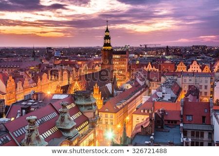 Nacht rivier Polen gebouw Stockfoto © rognar