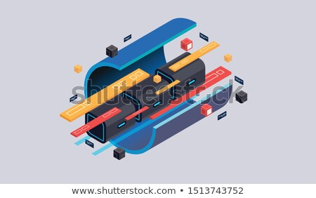 Isometrische computer vector 3d illustration Blauw Stockfoto © RAStudio
