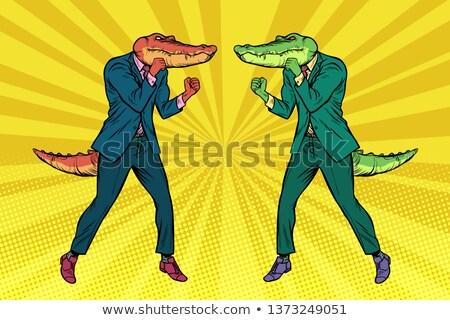 Strijd twee zakenlieden krokodillen concurrentie pop art Stockfoto © studiostoks