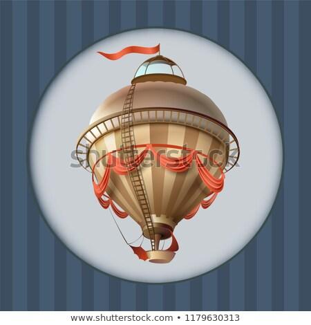 Balon retro sterowiec statku banderą kartkę z życzeniami Zdjęcia stock © orensila