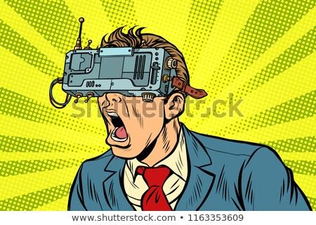 Businessman in VR glasses screaming Stock photo © studiostoks
