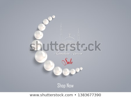Ramadan Kareem Poster Crescent Muslim Prayer Beads Stock photo © robuart