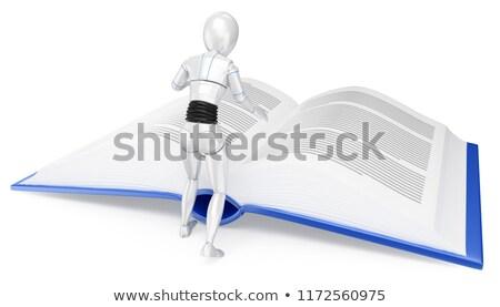 3D Humanoid robot reading a huge book Stock photo © texelart