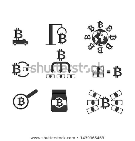 Wymiany zestaw ikona wydobycie bitcoin gospodarstwa Zdjęcia stock © popaukropa